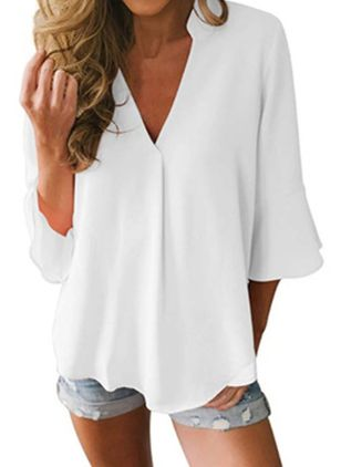Solid Casual V-Neckline 3/4 Sleeves Blouses (4044993)