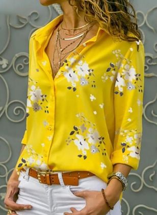 Floral Elegant Collar Long Sleeve Blouses (4101590)
