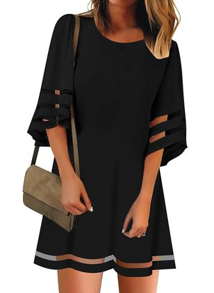 Casual Solid Tunic Round Neckline Shift Dress