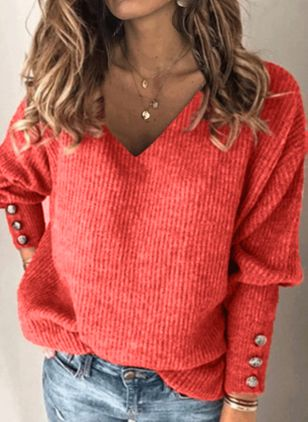 V-Neckline Solid Casual Loose Regular Buttons Sweaters (107423006)