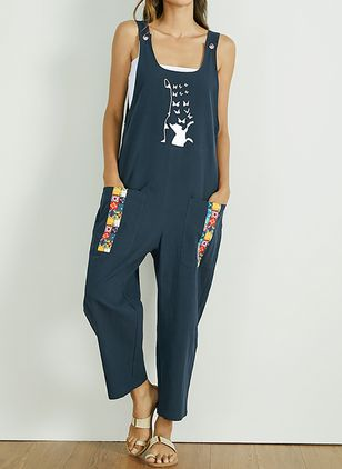 Casual Loose Pockets Mid Waist Cotton Jumpsuits (4209257)