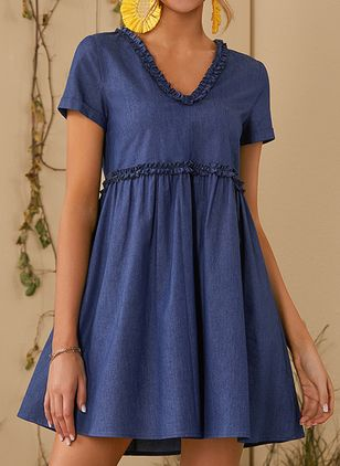 Casual Solid V-Neckline Above Knee A-line Dress (146642905)