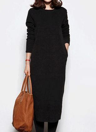 Casual Solid Tunic Round Neckline Shift Dress (118207724)