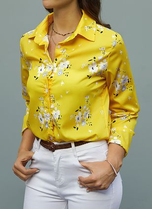 Floral Elegant Collar Long Sleeve Blouses (1467017)
