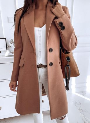 Long Sleeve Buttons Trench Coats (120647927)