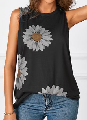 Floral Casual Round Neckline Sleeveless Blouses (100546744)