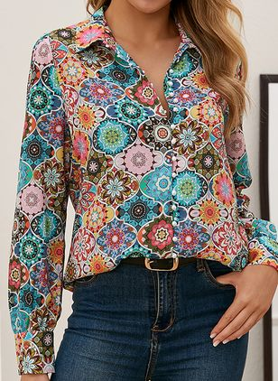 Floral Casual Collar Long Sleeve Blouses (112236811)