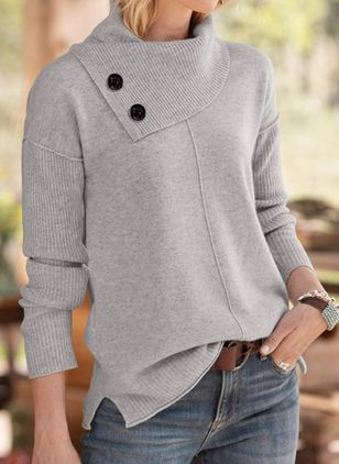 Draped Neckline Solid Casual Loose Regular Shift Sweaters (128228176)
