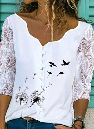 Animal Casual V-Neckline Blouses (109973435)