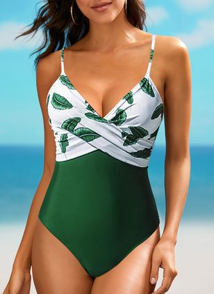 Polyester Pattern One-piece Swimwear (147193899)