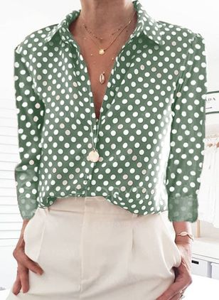 Polka Dot Casual Round Neckline Long Sleeve Blouses (100547073)