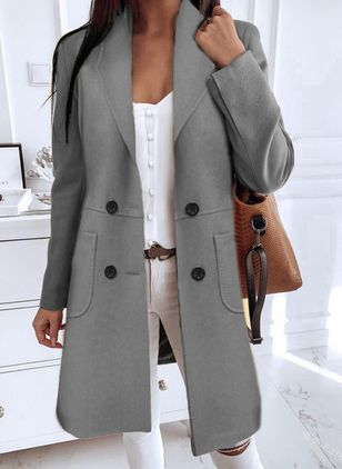 Long Sleeve Buttons Coats (118207743)