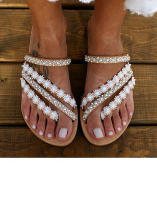 Women's Beading Flip-Flops Cloth Flat Heel Slippers