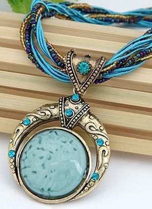 Boho Round Gemstone Pendant Necklaces (1537365)