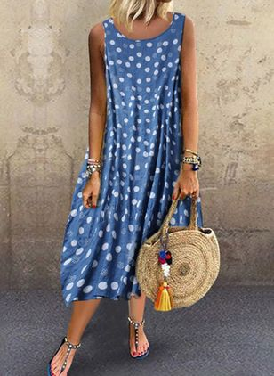 Plus Size Casual Polka Dot Tunic Round Neckline A-line Dress (4209359)