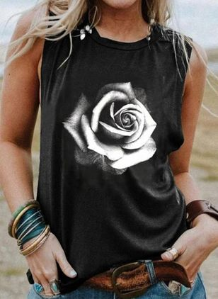 Floral Round Neck Sleeveless Casual T-shirts