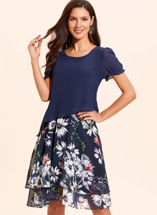 Floral Appliques Short Sleeve Midi Shift Dress