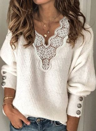 V-Neckline Solid Elegant Loose Regular Lace Hollow Out Buttons Sweaters (146632219)