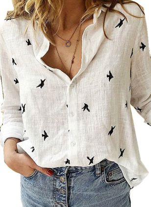 Animal Arabian Collar Long Sleeve Blouses
