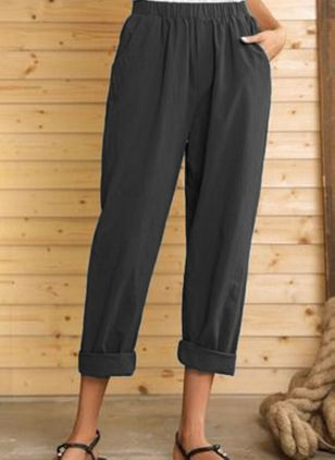 Casual Straight Pockets High Waist Polyester Pants (4209806)