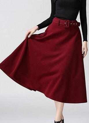 Solid Mid-Calf Elegant Pockets Skirts (146912965)
