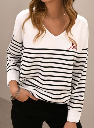 V-Neckline Stripe Casual Loose Regular Shift Sweaters (146908731)