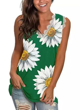 Floral V-Neckline Sleeveless Casual T-shirts (148002856)
