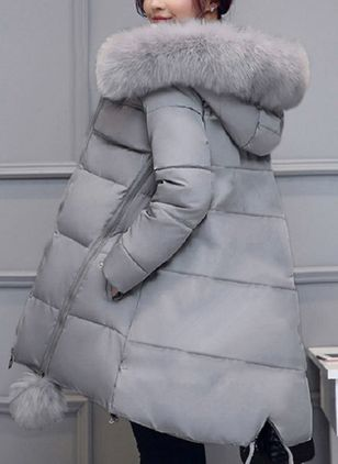 Long Sleeve Hooded Removable Fur Collar Padded Coats (4037925)