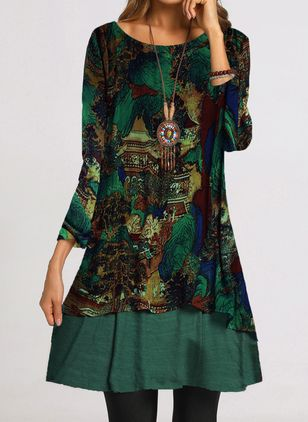 Casual Floral Tunic Round Neckline Shift Dress (1491101)