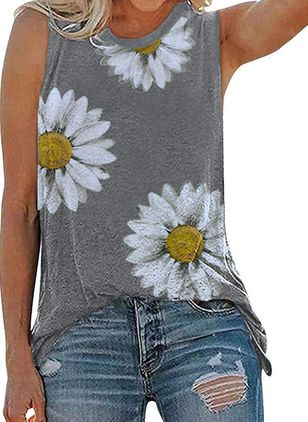 Floral Round Neck Sleeveless Casual T-shirts (147151264)