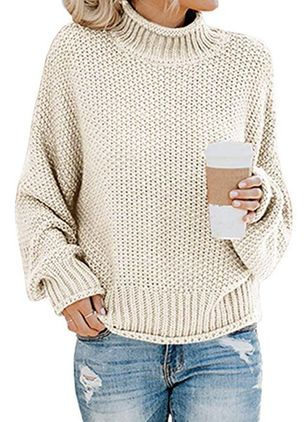 Round Neckline Solid Elegant Loose Regular Shift Sweaters (1369442)