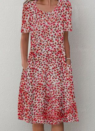 Casual Floral Shirt Round Neckline A-line Dress