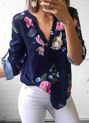 Floral Casual V-Neckline Long Sleeve Blouses (4209248)