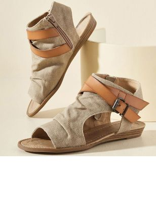 Women's Buckle Zipper High Top Flat Heel Sandals