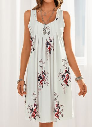 Casual Floral Tunic Round Neckline Shift Dress (1524552)