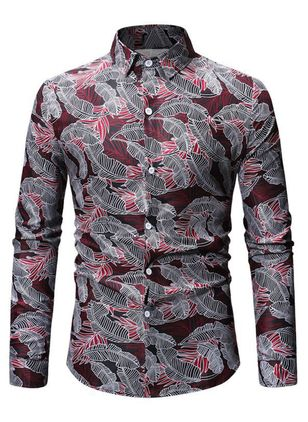 Floral Collar Casual Shift T-shirts Long Sleeve Shirt (146939502)