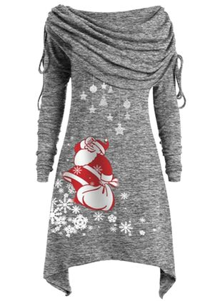 Christmas Animal Round Neckline Midi X-line Dress (1381263)
