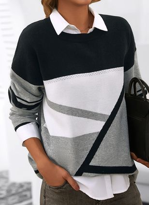 Round Neckline Color Block Casual Loose Shift Sweaters (146908737)