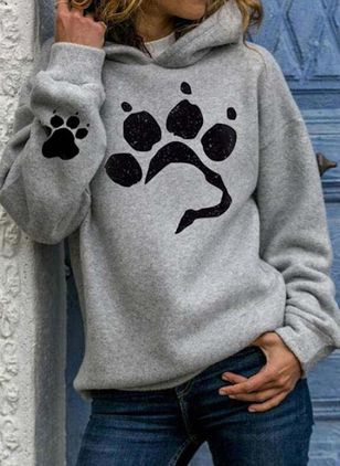 Hooded Animal Casual Loose Regular Shift Sweaters (118207728)