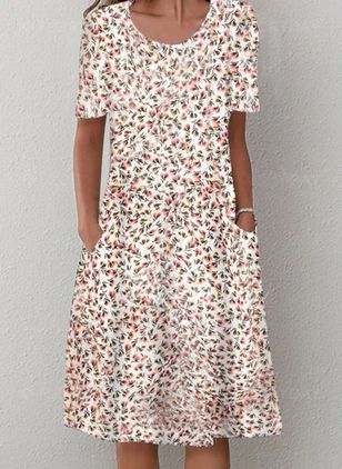 Casual Floral Shirt Round Neckline A-line Dress (4209822)