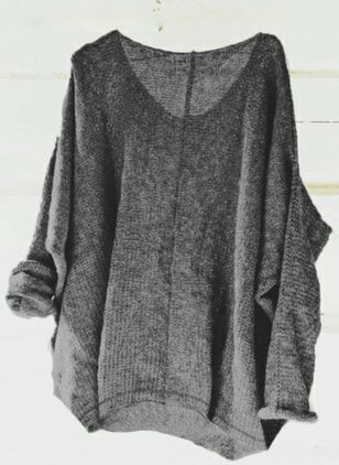 V-Neckline Solid Casual Loose Regular Sweaters