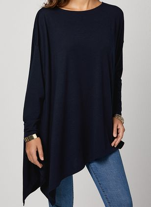 Solid Casual Round Neckline 3/4 Sleeves Blouses (101988096)