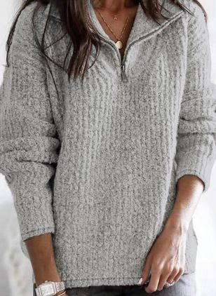 V-Neckline Solid Casual Loose Regular Zipper Sweaters