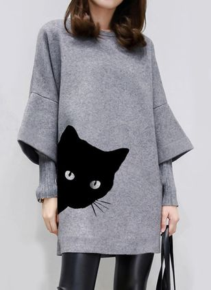 Casual Animal Tunic Round Neckline Shift Dress (1417637)