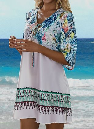 Polyester Color Block Floral Cover-Ups Swimwear (106587804)