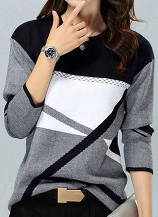 Round Neckline Color Block Casual Loose Regular Shift Sweaters (118207763)