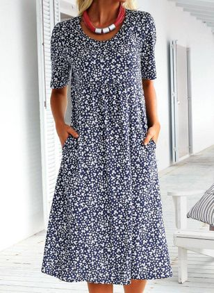 Casual Floral Round Neckline Midi A-line Dress