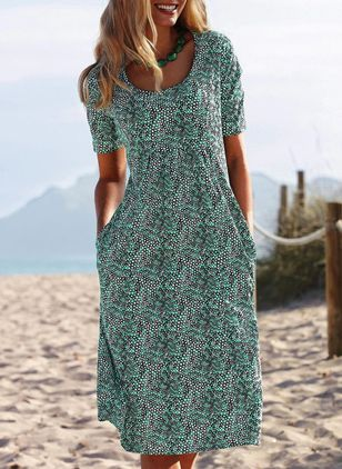 Casual Floral Tunic Round Neckline A-line Dress (4356241)