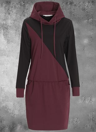 Casual Color Block Shirt Round Neckline Shift Dress (146908685)