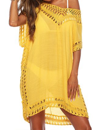Polyester Cotton Solid Mesh Cover-Ups Swimwear (4355948)
